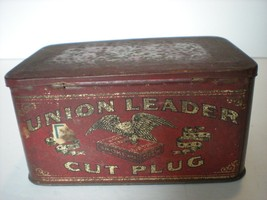 Vintage Tobacco Tin Hinged  Union Leader Cut Pl... - $18.53