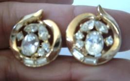 Vintage Philippe TRIFARI Rhinestone Earrings Gold Tone 40's 50's - $21.78
