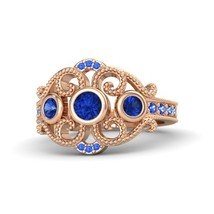 1.17 Ct Round Cut Blue Sapphire Engagement Autumn Palace Ring 14k Rose Gold Fn - $97.98