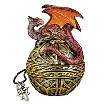 Dragon Protector of Treasures Vibrant Celtic Knot Embellished Trinket Box - $44.50