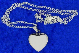 Heart Necklace Thick Stainless Steel Pendant Silver Color Chain Length C... - $4.99+