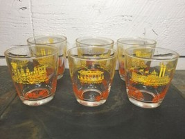 6 Vintage Sour Cream Glasses Transportation Orange Yellow 1/2 Pint Hazel... - $24.74