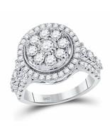 14kt White Gold Womens Round Diamond Flower Cluster Ring 1-3/4 Cttw - £1,784.46 GBP
