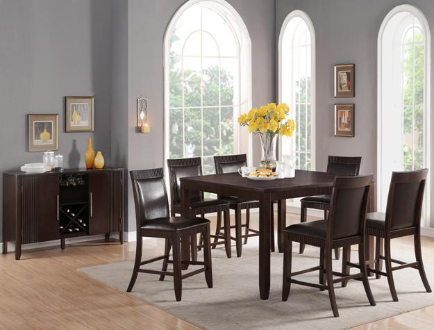 Crown Mark 2768 Dining Room Set 7pc. Ariana Counter Height Espresso Transitional