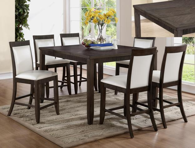 Crown Mark 2768 Dining Room Set 7pc. Ariana Counter Height White Transitional