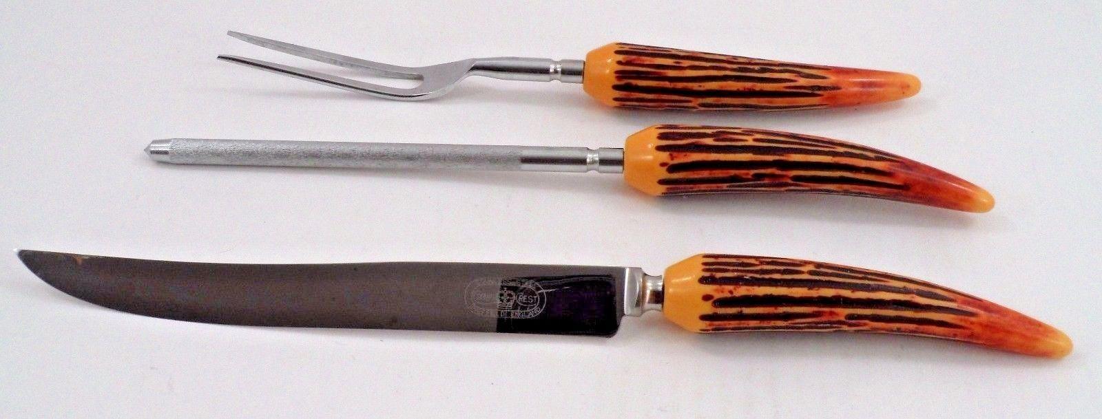 Vtg 3 Pc Stainless Carving Set Crown Crest Sheffield Knife Fork Sharpening Steel - $26.68
