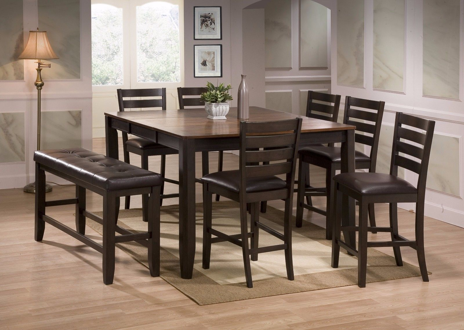 Crown Mark 2728 Dining Room Set 8pc. Elliot Counter Height Contemporary Style