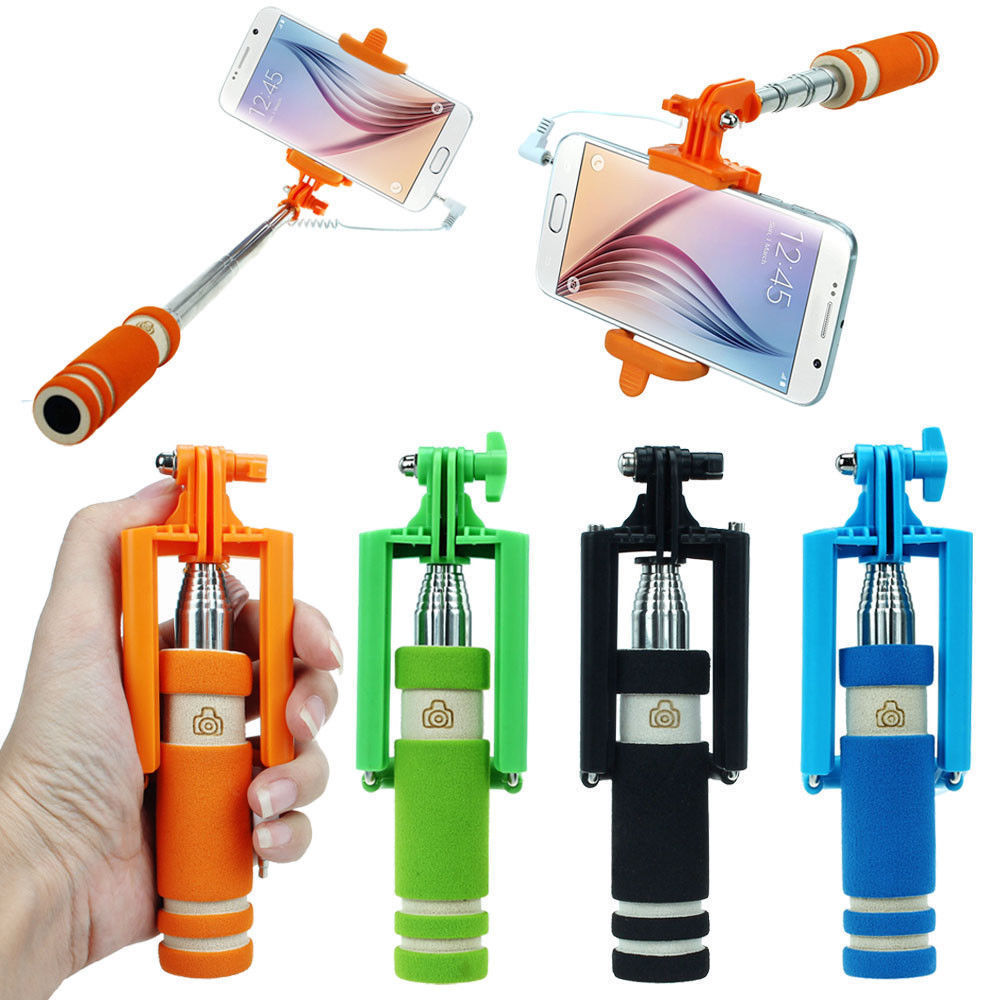 Mini Wired Selfie Stick Monopod Extendable - 1 Item w/Random Color and Design