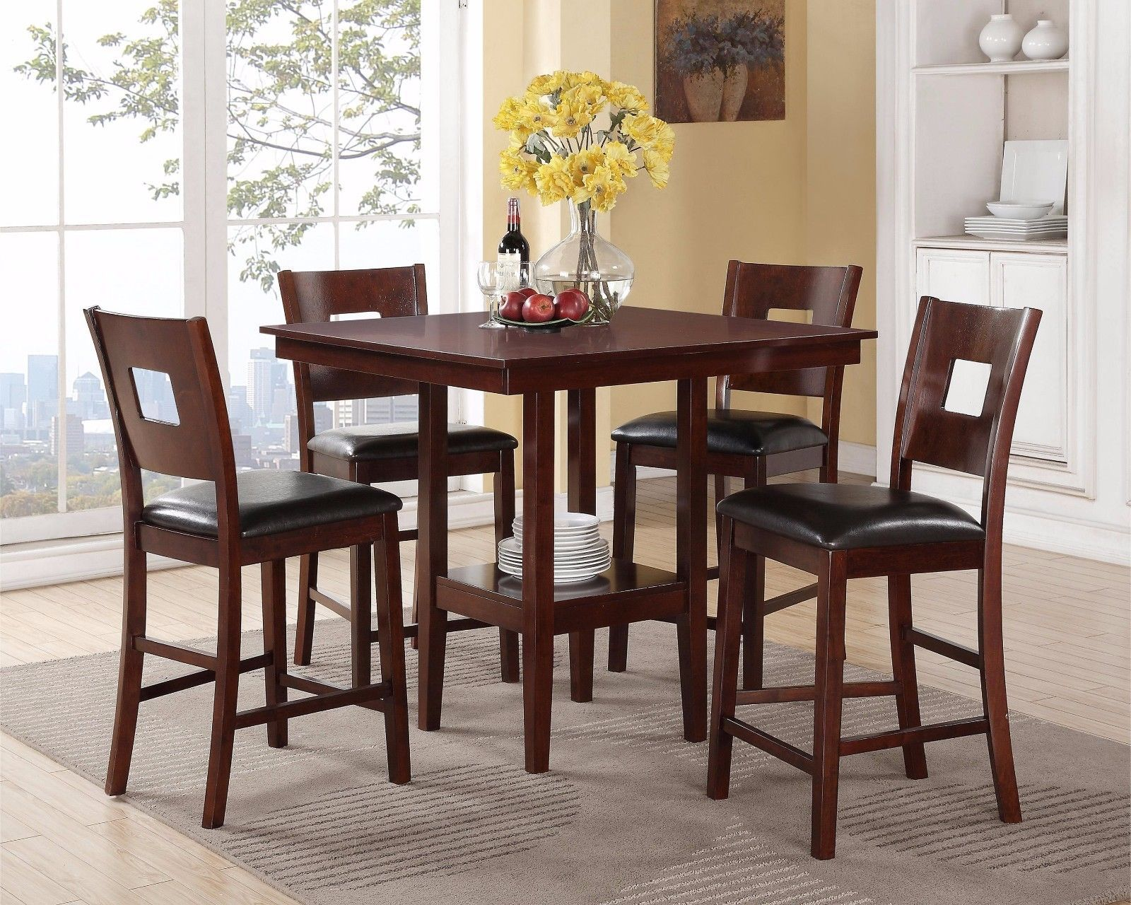 Crown Mark 2783 Dining Room Set 5pc. Issac Counter Height Dinette Casual Style
