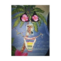 Women's Anisea Bikini Swimsuit Sizes 4 6 or 8 Black Floral Top w/Multi B... - $6.50