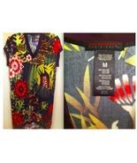 CUSTO BARCELONA dress tunic top tiger print V-neck floral black red purp... - $125.00
