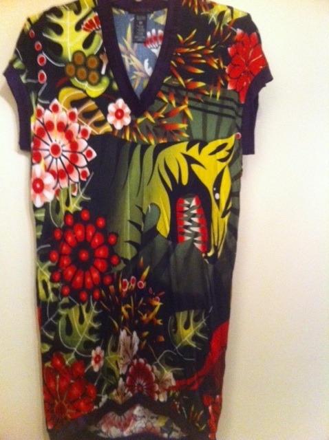 CUSTO BARCELONA dress tunic top tiger print V-neck floral black red purple green