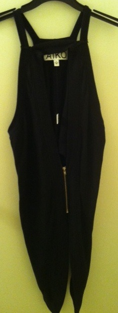 AIKO long drape jacket vest coat black small RARE NEW V-neck zip front sold out!