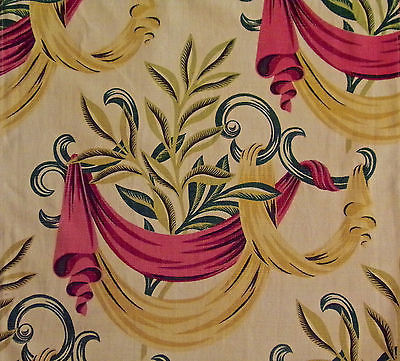 Barkcloth Vintage Pink Yellow Swag Leaf Design For Crafter Cutter