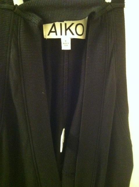 AIKO long drape jacket vest coat black small RARE NEW V-neck zip front sold out!