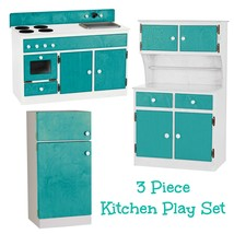 3 Piece Kitchen Play Set   Turquoise & White Amish Handmade Toy Furniture Usa - $1,168.17