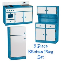 3 Piece Kitchen Play Set   Blue & White Amish Handmade Toy Furniture Made In Usa - $1,168.17