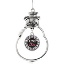 Inspired Silver 110% Diva Circle Snowman Holiday Decoration Christmas Tree Ornam - $14.69