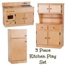 3 Piece Kitchen Play Set   Natural Birch Wood Amish Handmade Toy Furniture Usa - $1,168.17