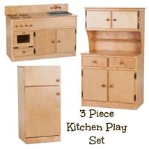 3 PIECE KITCHEN PLAY SET - NATURAL BIRCH WOOD Amish Handmade Toy Furnitu... - $1,159.31