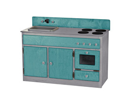 3 Piece Kitchen Play Set   Turquoise & Gray Amish Handmade Wood Toy Furniture - $1,168.17