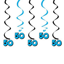 50th Birthday Hanging Swirls 5 dizzy danglers in pkg black & blue colors - $3.95