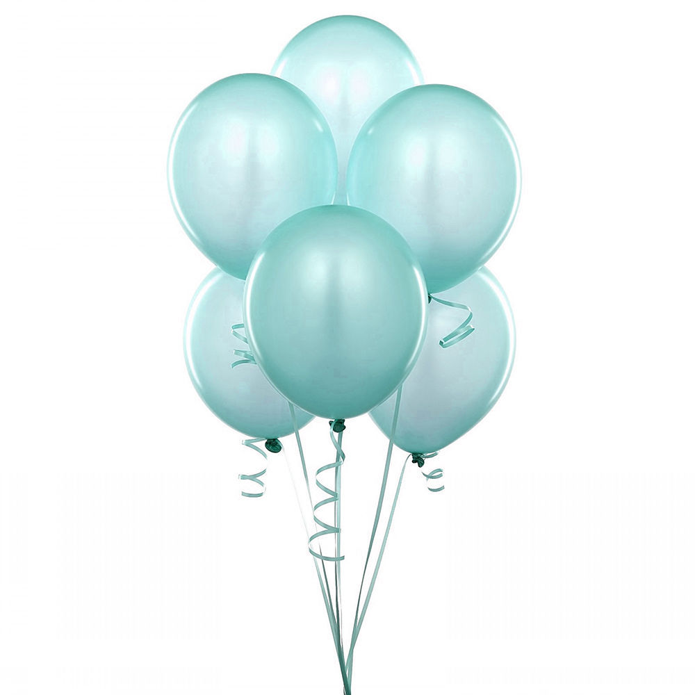 "72 Latex Balloons 12"" With Clips and Curling Ribbon-Aqua"