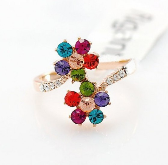 Primary image for 18K RGP Swarovski Crystal Flower Cocktail Ring(Size:16)