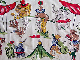 "Vintage Circus Theme Cotton Curtain Drape Panel 34"" x 82"" - $41.58"