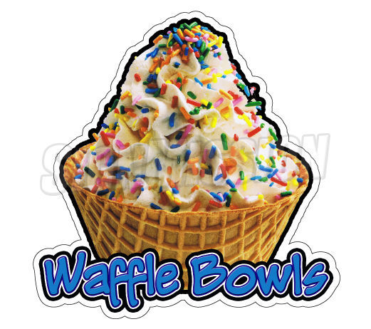 WAFFLE BOWLS Concession Decal soft serve ice cream cart trailer stand sticker