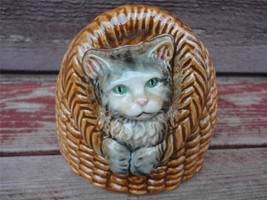 GOEBEL 1974 Cat Porcelain in Basket Bank Figurine w Key W. Germany - $29.70