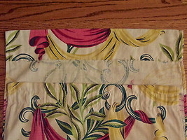 Barkcloth Vintage Pink Yellow Swag Leaf Design For Crafter Cutter image 3