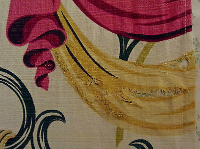 Barkcloth Vintage Pink Yellow Swag Leaf Design For Crafter Cutter image 4