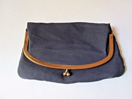 Vtg 1950's Mel-Ton Melton Navy Blue Fold Over Clutch Purse Clasp Evening... - $14.98