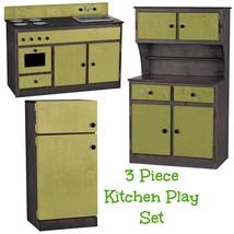 3 Piece Kitchen Play Set   Green & Black Amish Handmade Kids Toy Furniture Usa - $1,168.17