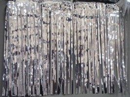 """Metallic Silver Fringed Table Skirt Party decoration 29"""" x 14Ft - 1 piece - $7.91"""