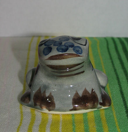 Vintage Mexican Ceramic Frog Figurine Signed RS Mexico