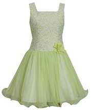 Big Girls Tween 7-16 Lime-Green White Brocade and Mesh Fit Flare Social Dress
