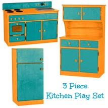 3 Pc Kitchen Play Set   Turquoise & Orange Amish Handmade Kids Toy Furniture Usa - $1,168.17
