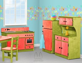 3 Pc Kitchen Play Set   Red & Green Amish Handmade Kids Toy Furniture Usa - $1,168.17