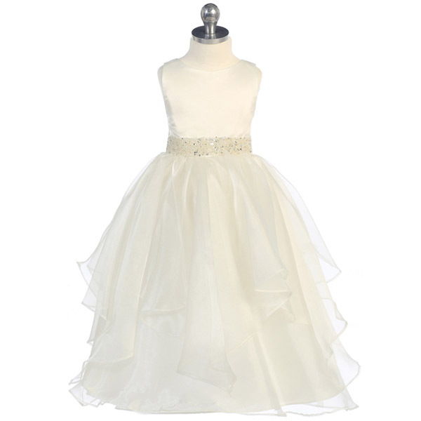 White Satin Asymmetric Ruffles Organza Skirt Flower Girl Dress Birthday Wedding