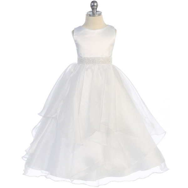 Primary image for White Satin Asymmetric Ruffles Organza Skirt Flower Girl Dress Birthday Wedding