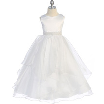 White Satin Asymmetric Ruffles Organza Skirt Flower Girl Dress Birthday Wedding - $46.00