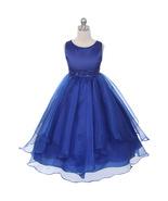 Royal Blue Satin Asymmetric Ruffles Organza Flower Girl Dresses Birthday... - $46.00