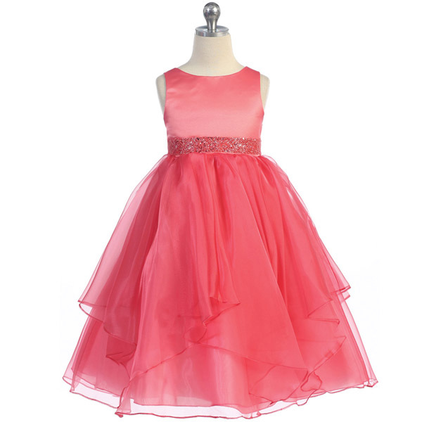 Ivory Satin Asymmetric Ruffles Organza Flower Girl Dresses Birthday Bridesmaid