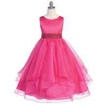 Fuchsia Satin Asymmetric Ruffles Organza Flower Girl Dresses Birthday Bridesmaid - $46.00
