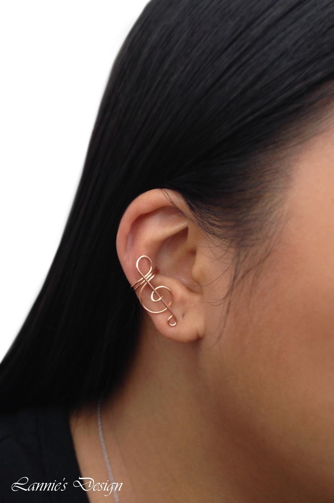 Orange Treble Clef Ear Cuff, No Piercing Cartilage Earrings