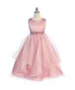 Dusty Rose Satin Asymmetric Ruffles Organza Flower Girl Dresses Birthday... - $46.00