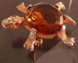Turtle with Smoky Quartz Shell & Rhinestone Head Brooch - $18.99