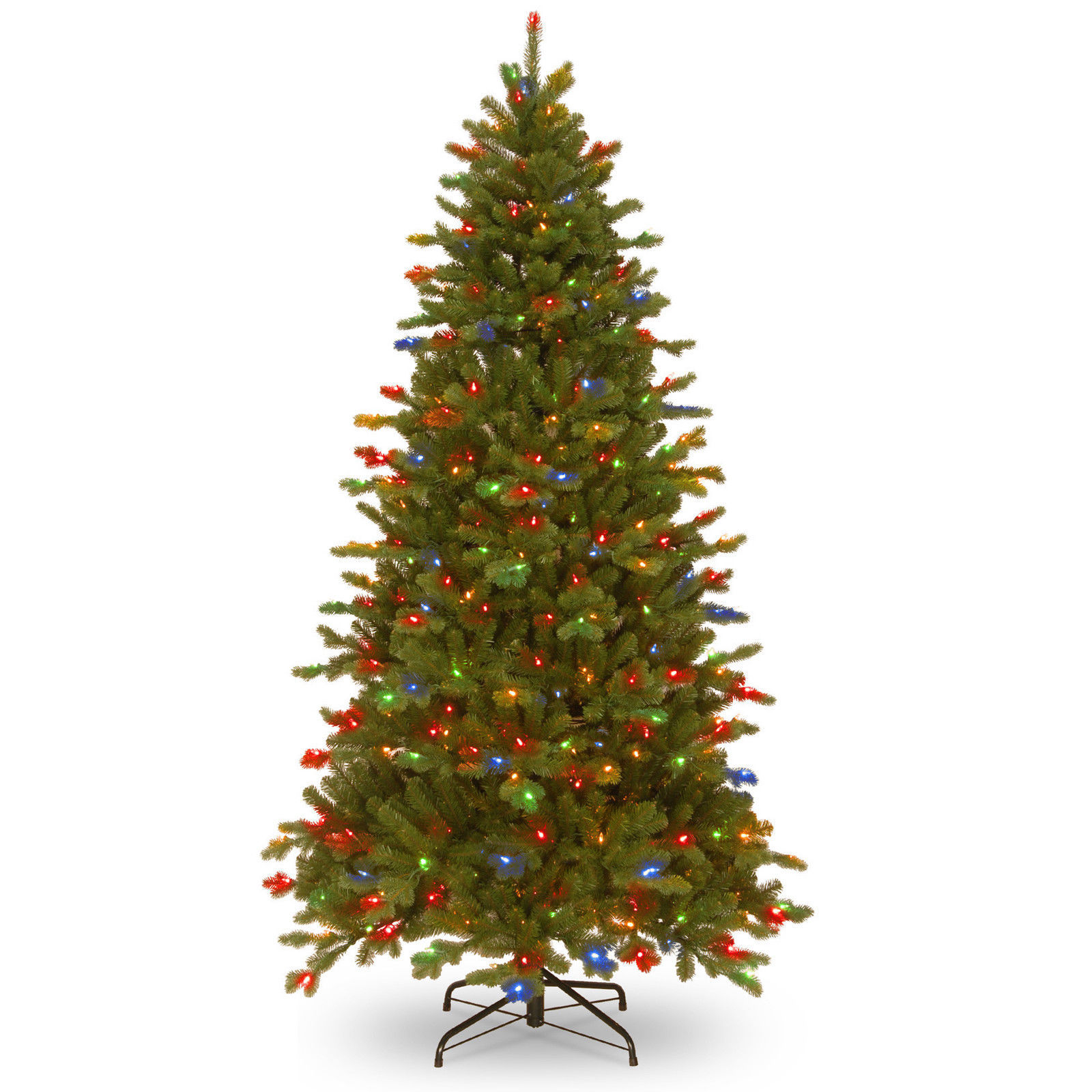 7 ft Artifical Christmas Tree Pre Lit Clear Multicolored